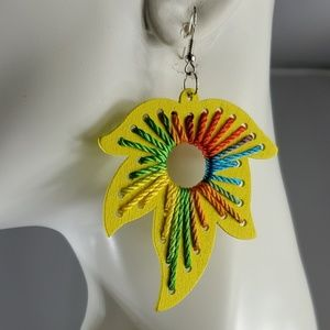 Handmade Wood Earring with Thread (6 Colors avail)